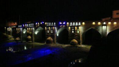 تصویر فاز نخست نورپردازی پل تاریخی آققلا افتتاح شد